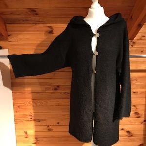 SOFT SURROUNDINGS BLACK HOOD KNIT CARDIGAN COAT S